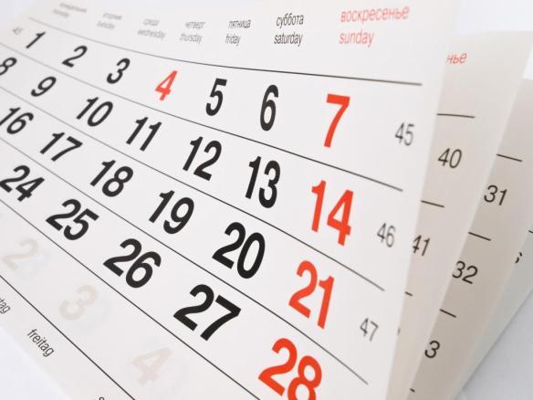 Ilustração de calendário. Foto: Reprodução